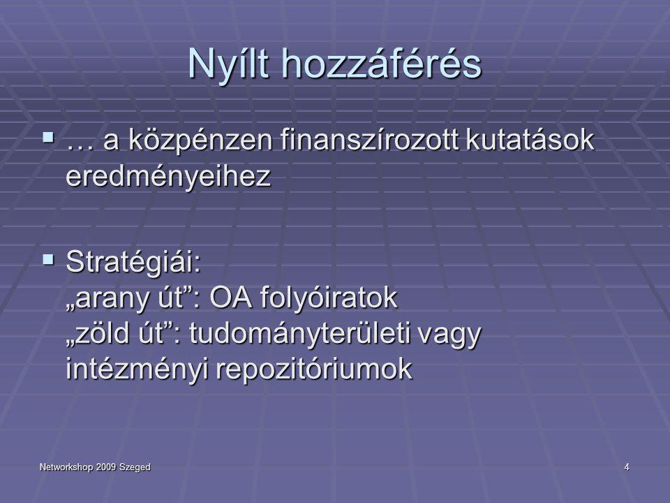 """Networkshop 2009 Szeged4 Nyílt hozzáférés  … a közpénzen finanszírozott kutatások eredményeihez  Stratégiái: """"arany út"""": OA folyóiratok """"zöld út"""": t"""