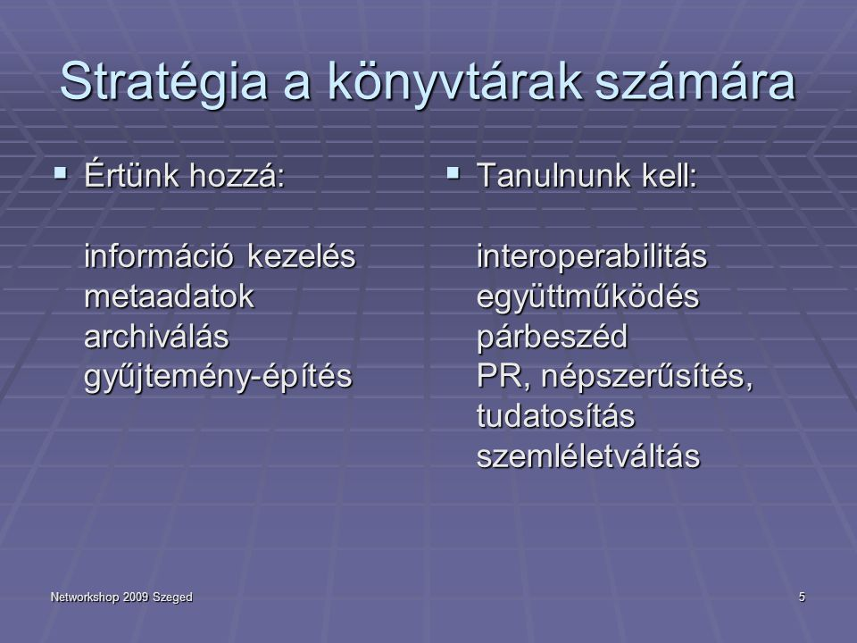 Networkshop 2009 Szeged5 Stratégia a könyvtárak számára  Értünk hozzá: információ kezelés metaadatok archiválás gyűjtemény-építés  Tanulnunk kell: interoperabilitás együttműködés párbeszéd PR, népszerűsítés, tudatosítás szemléletváltás