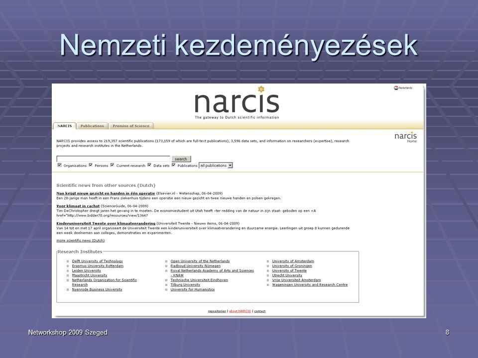 Networkshop 2009 Szeged8 Nemzeti kezdeményezések