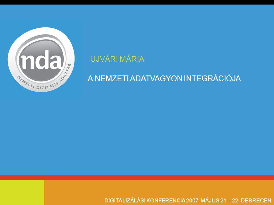 A NEMZETI ADATVAGYON INTEGRÁCIÓJA DIGITALIZÁLÁSI KONFERENCIA 2007. MÁJUS 21 – 22. DEBRECEN UJVÁRI MÁRIA