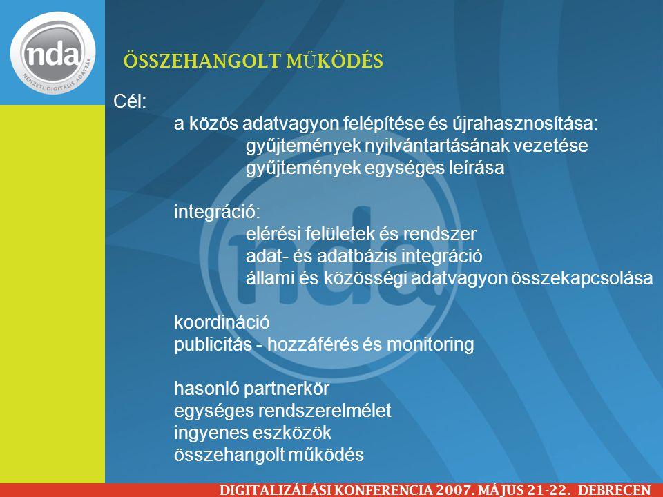 ÖSSZEHANGOLT M Ű KÖDÉS EREDMÉNYE DIGITALIZÁLÁSI KONFERENCIA 2007.