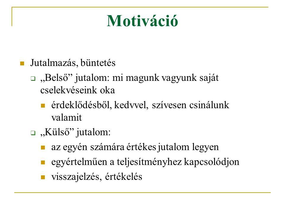 Motiváció Célkitűzés (az egyéni és a szervezeti célok közötti összhang):  specifikus célok megfogalmazása  komplex célok (kihívást jelentő) kijelölése  célok elfogadása az alkalmazottak által
