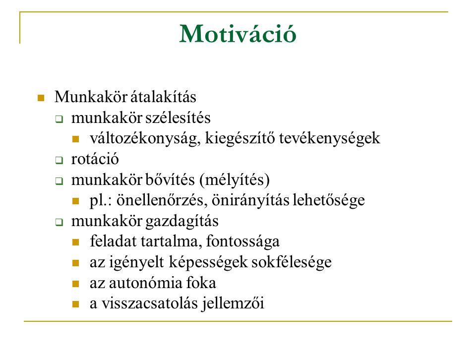 Motiváció Munkakör átalakítás  munkakör szélesítés változékonyság, kiegészítő tevékenységek  rotáció  munkakör bővítés (mélyítés) pl.: önellenőrzés