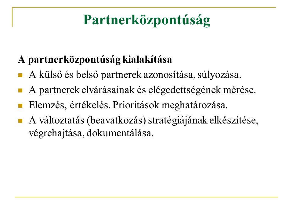 Partnerközpontúság A partnerközpontúság kialakítása A külső és belső partnerek azonosítása, súlyozása. A partnerek elvárásainak és elégedettségének mé