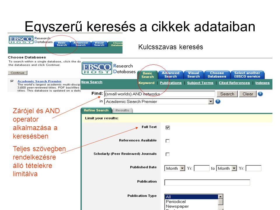 Egyszerű keresés a cikkek adataiban Zárójel és AND operator alkalmazása a keresésben Teljes szövegben rendelkezésre álló tételekre limitálva Kulcsszavas keresés