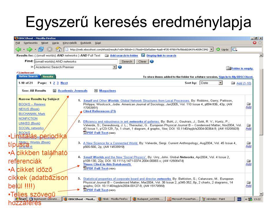Egyszerű keresés eredménylapja Limitálás periodika típusra A cikkben található referenciák A cikket időző cikkek (adatbázison belül !!!!) Teljes szövegű hozzáférés