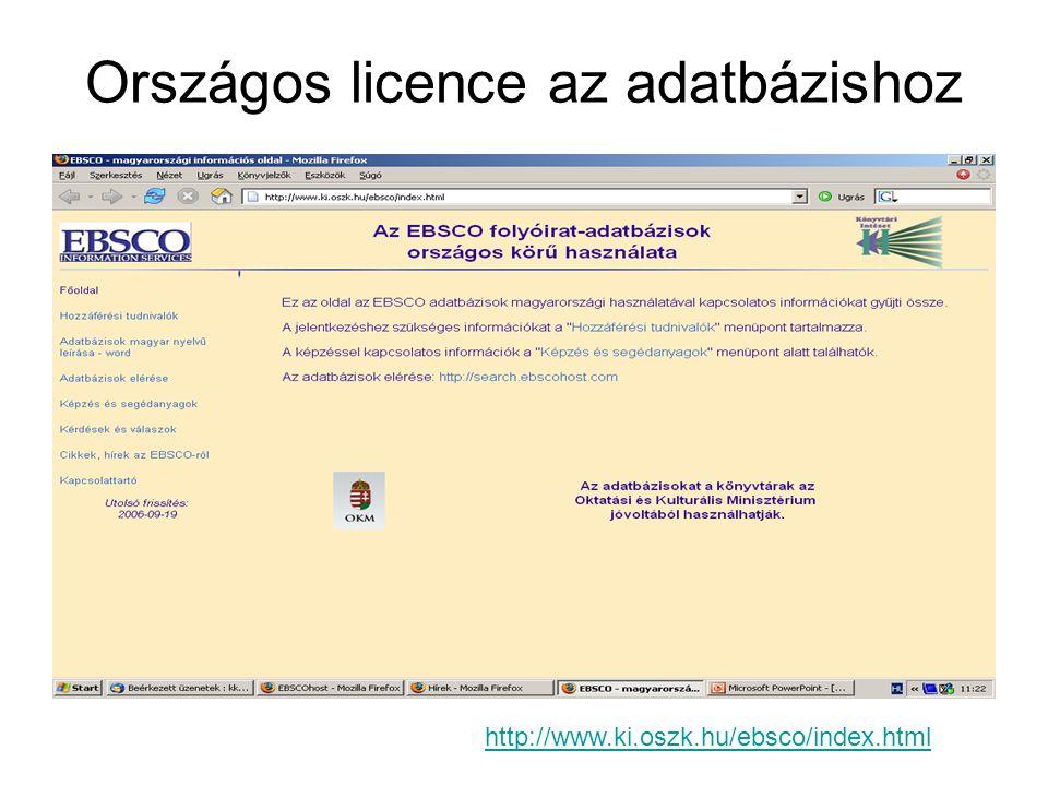 Országos licence az adatbázishoz http://www.ki.oszk.hu/ebsco/index.html