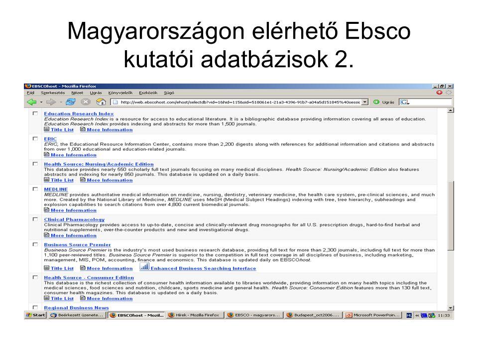 Magyarországon elérhető Ebsco kutatói adatbázisok 2.