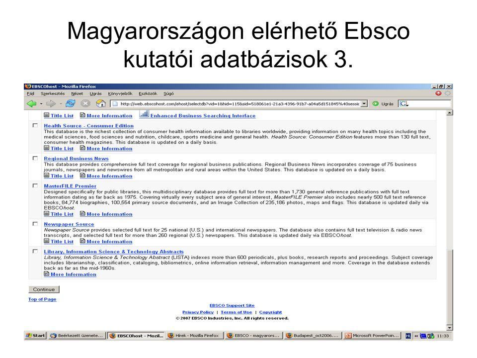 Magyarországon elérhető Ebsco kutatói adatbázisok 3.
