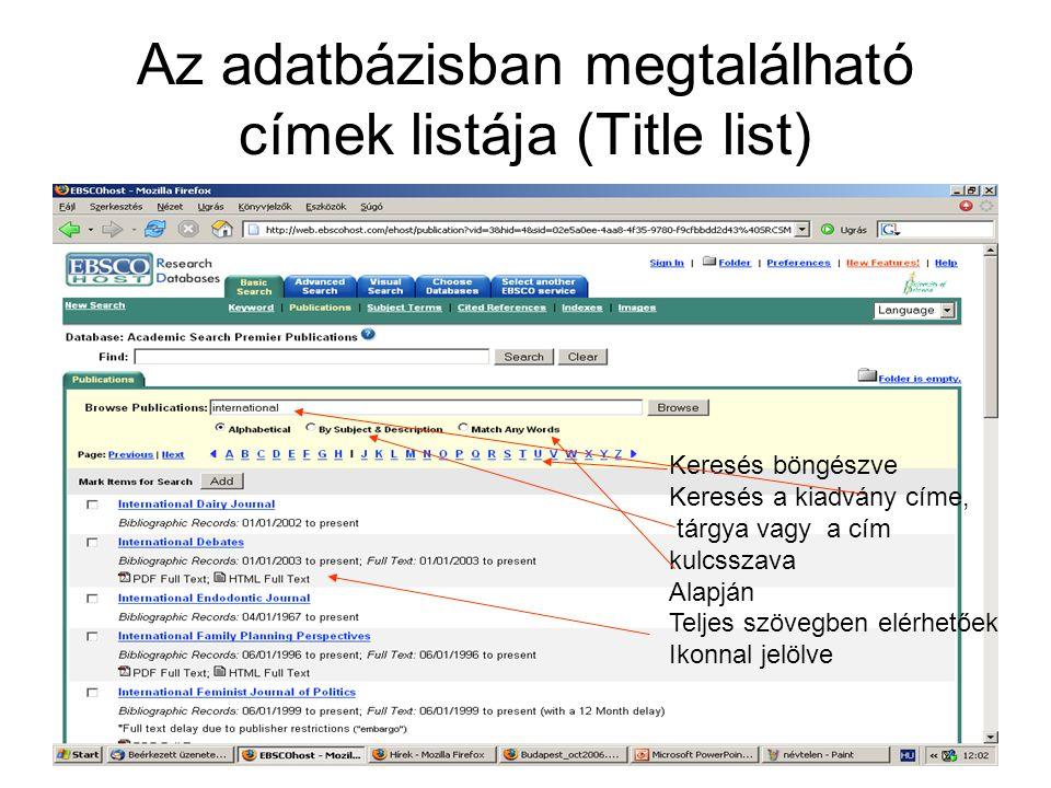 Az adatbázisban megtalálható címek listája (Title list) Keresés böngészve Keresés a kiadvány címe, tárgya vagy a cím kulcsszava Alapján Teljes szövegben elérhetőek Ikonnal jelölve