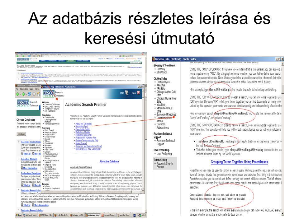 Az adatbázis részletes leírása és keresési útmutató