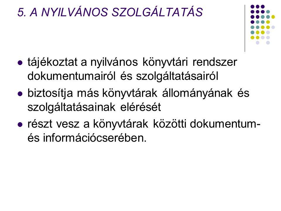 5. A NYILVÁNOS SZOLGÁLTATÁS tájékoztat a nyilvános könyvtári rendszer dokumentumairól és szolgáltatásairól biztosítja más könyvtárak állományának és s