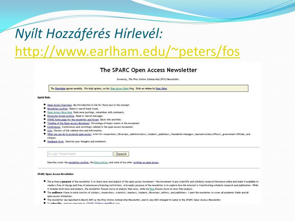 Budapest Open Access Initiative http://www.soros.org/openaccess/