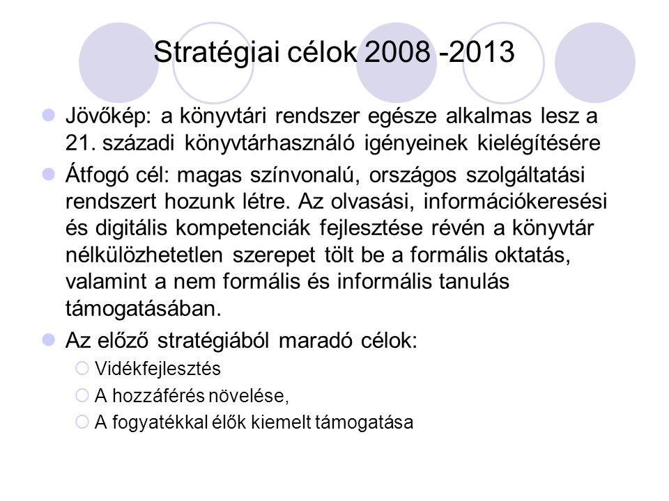 Stratégiai célok 2008 -2013 Jövőkép: a könyvtári rendszer egésze alkalmas lesz a 21. századi könyvtárhasználó igényeinek kielégítésére Átfogó cél: mag