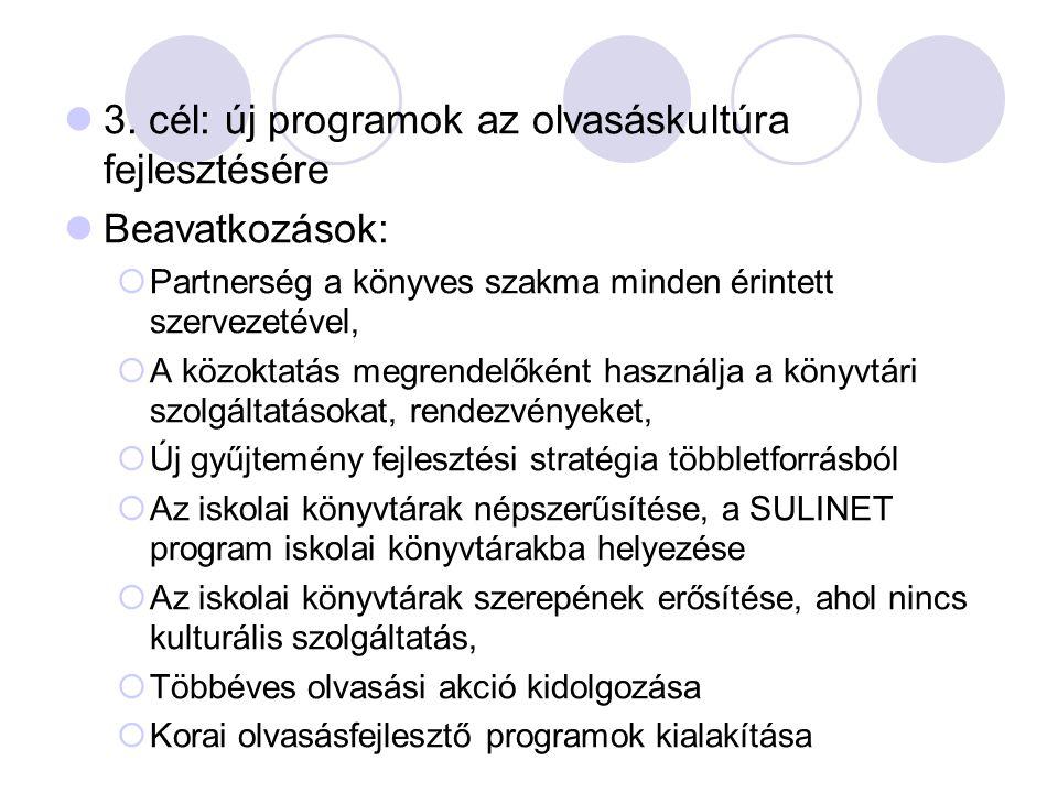 3. cél: új programok az olvasáskultúra fejlesztésére Beavatkozások:  Partnerség a könyves szakma minden érintett szervezetével,  A közoktatás megren