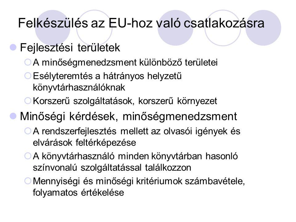 Felkészülés az EU-hoz való csatlakozásra Fejlesztési területek  A minőségmenedzsment különböző területei  Esélyteremtés a hátrányos helyzetű könyvtá