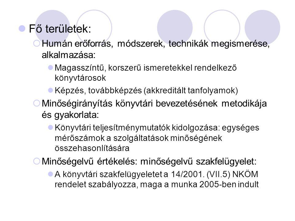 Fő területek:  Humán erőforrás, módszerek, technikák megismerése, alkalmazása: Magasszíntű, korszerű ismeretekkel rendelkező könyvtárosok Képzés, továbbképzés (akkreditált tanfolyamok)  Minőségirányítás könyvtári bevezetésének metodikája és gyakorlata: Könyvtári teljesítménymutatók kidolgozása: egységes mérőszámok a szolgáltatások minőségének összehasonlítására  Minőségelvű értékelés: minőségelvű szakfelügyelet: A könyvtári szakfelügyeletet a 14/2001.