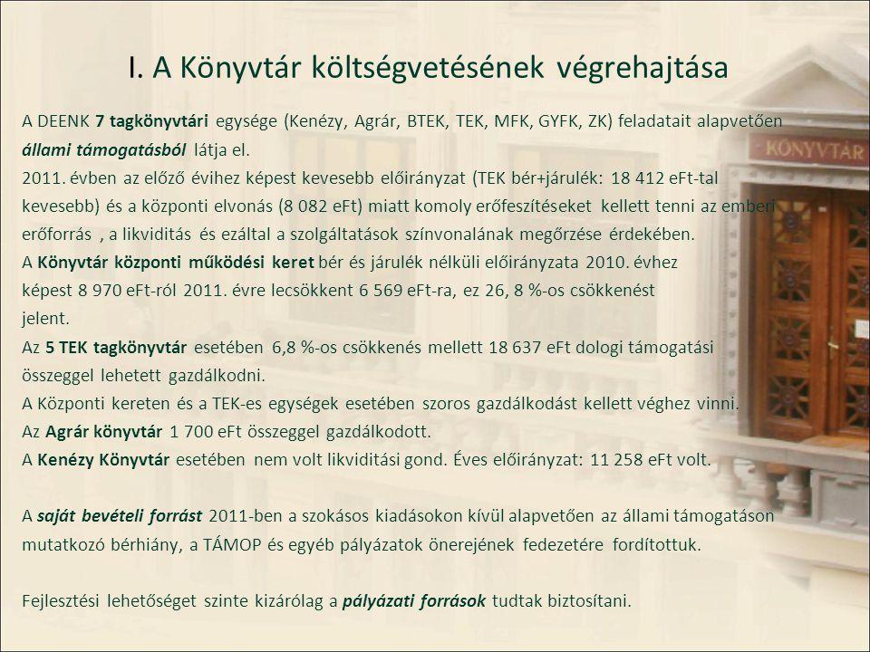 I. A Könyvtár költségvetésének végrehajtása A DEENK 7 tagkönyvtári egysége (Kenézy, Agrár, BTEK, TEK, MFK, GYFK, ZK) feladatait alapvetően állami támo