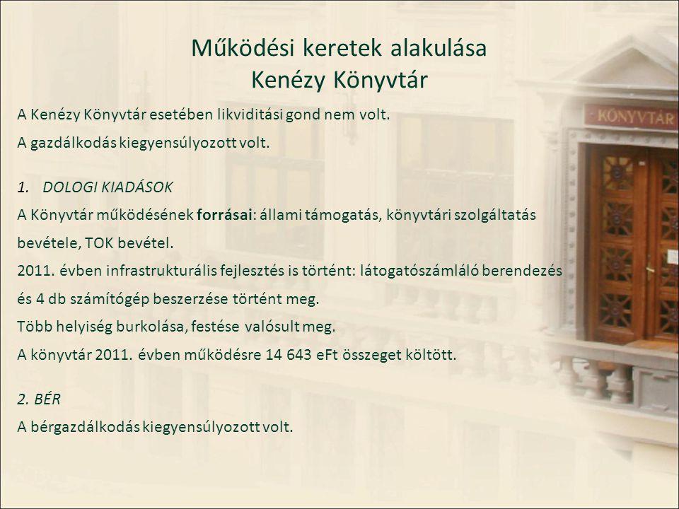 Működési keretek alakulása Kenézy Könyvtár A Kenézy Könyvtár esetében likviditási gond nem volt.