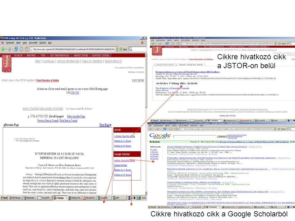 Cikkre hivatkozó cikk a JSTOR-on belül Cikkre hivatkozó cikk a Google Scholarból