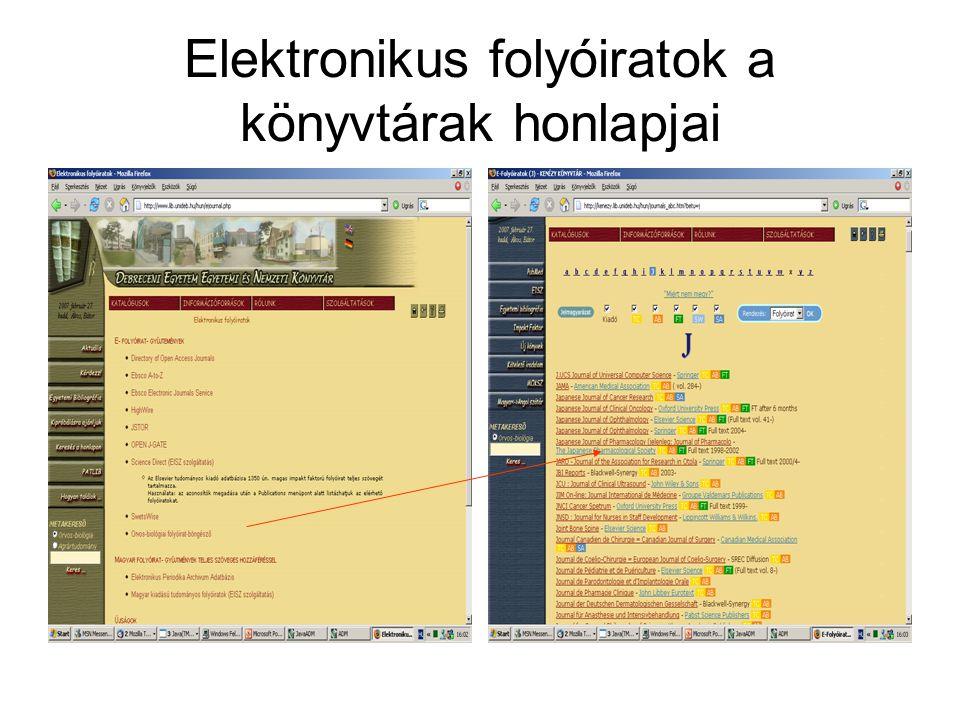Elektronikus folyóiratok a könyvtárak honlapjai