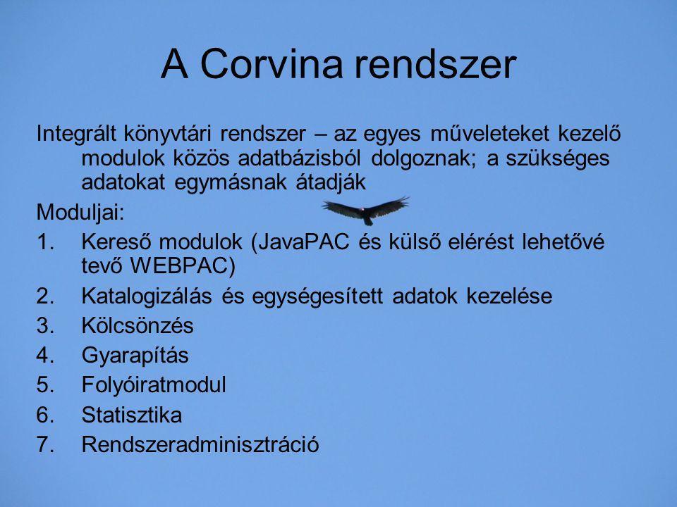A Corvina rendszer Integrált könyvtári rendszer – az egyes műveleteket kezelő modulok közös adatbázisból dolgoznak; a szükséges adatokat egymásnak áta