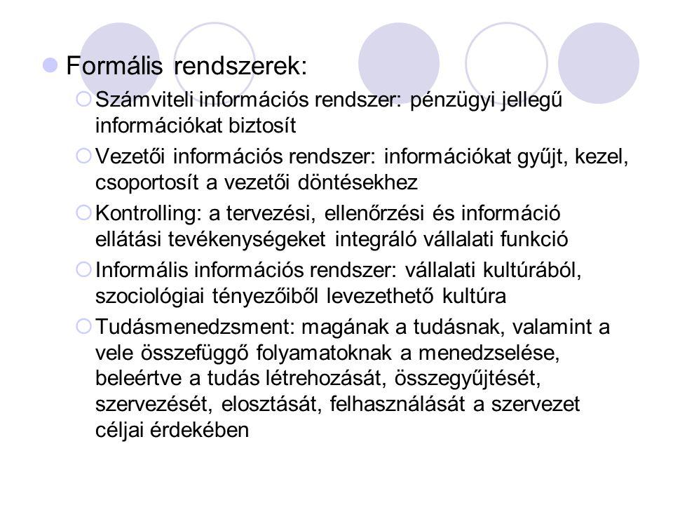Formális rendszerek:  Számviteli információs rendszer: pénzügyi jellegű információkat biztosít  Vezetői információs rendszer: információkat gyűjt, k