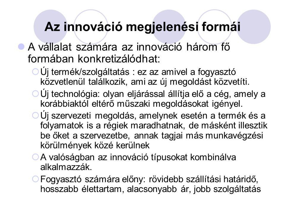 Az innováció megjelenési formái A vállalat számára az innováció három fő formában konkretizálódhat:  Új termék/szolgáltatás : ez az amivel a fogyaszt