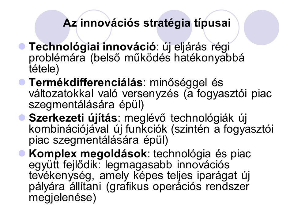 Az innováció elfogadtatása A technológiai innováció nem érinti közvetlenül a vállalat piaci munkáját (belső fejlesztésre fókuszál) A többinél az innováció és a marketing funkció szorosan kapcsolódik (az innovációs stratégiában szerepelnie kell az innováció piaci elfogadtatására vonatkozó stratégiának) Befolyásoló tényezők:  Relatív előny, amivel az új megoldás jobb a többinél  Beilleszthetőség- minél inkább konzisztens az innováció a meglévő értékekkel, tapasztalatokkal, annál könnyebb elterjeszteni  Bonyolultság – minél nehezebben érthető az újdonság jellege, annál nehezebb az elterjesztés  Kipróbálhatóság – a kísérletezés lehetősége segít az elterjesztésben