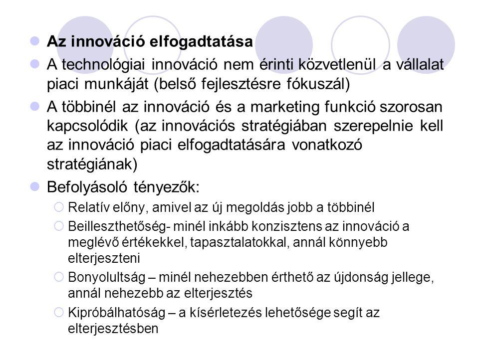 Az innováció elfogadtatása A technológiai innováció nem érinti közvetlenül a vállalat piaci munkáját (belső fejlesztésre fókuszál) A többinél az innov