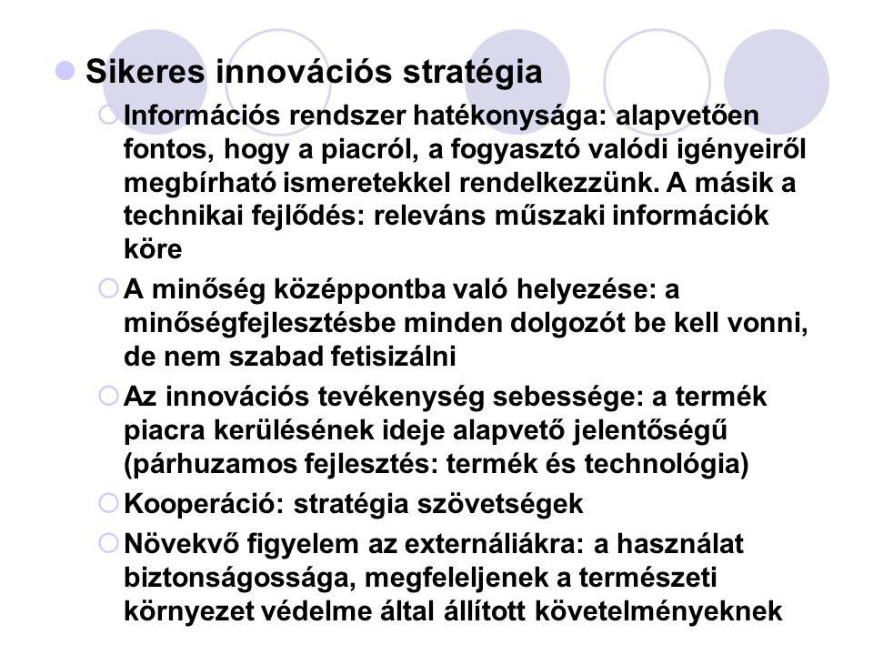 Sikeres innovációs stratégia  Információs rendszer hatékonysága: alapvetően fontos, hogy a piacról, a fogyasztó valódi igényeiről megbírható ismerete