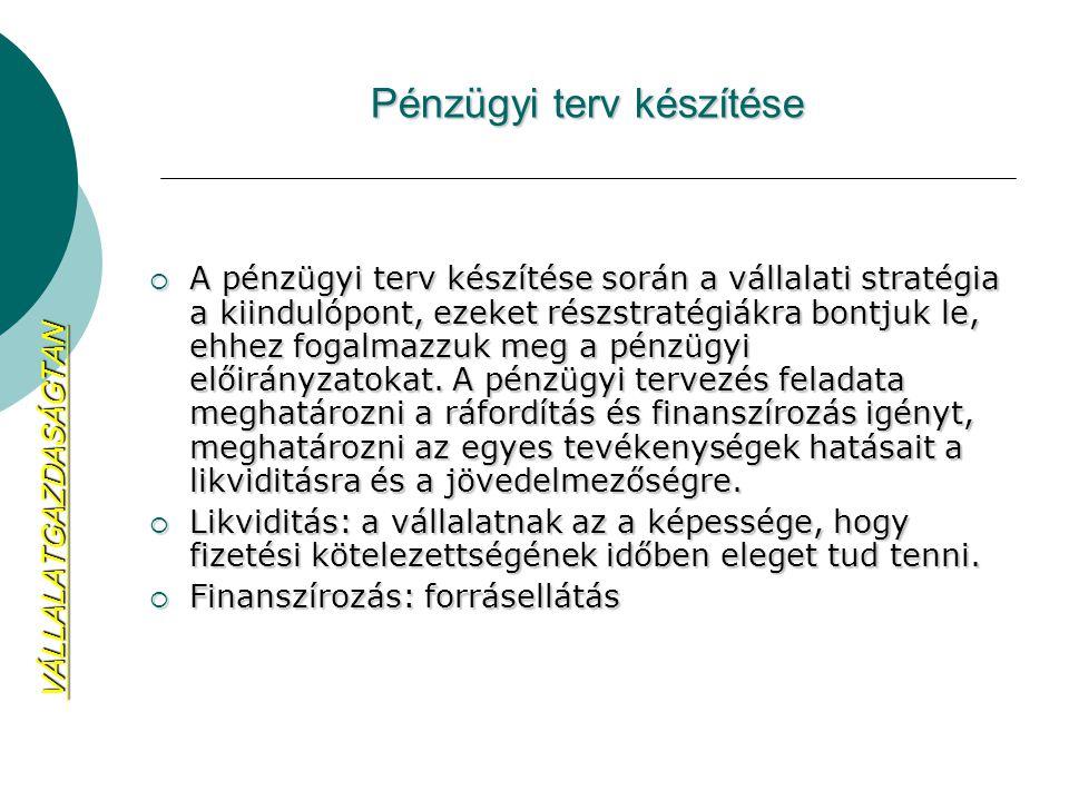 Pénzügyi terv készítése  A pénzügyi terv készítése során a vállalati stratégia a kiindulópont, ezeket részstratégiákra bontjuk le, ehhez fogalmazzuk