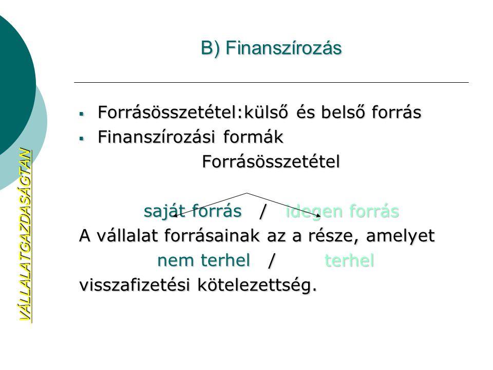 B) Finanszírozás  Forrásösszetétel:külső és belső forrás  Finanszírozási formák Forrásösszetétel saját forrás / idegen forrás A vállalat forrásainak