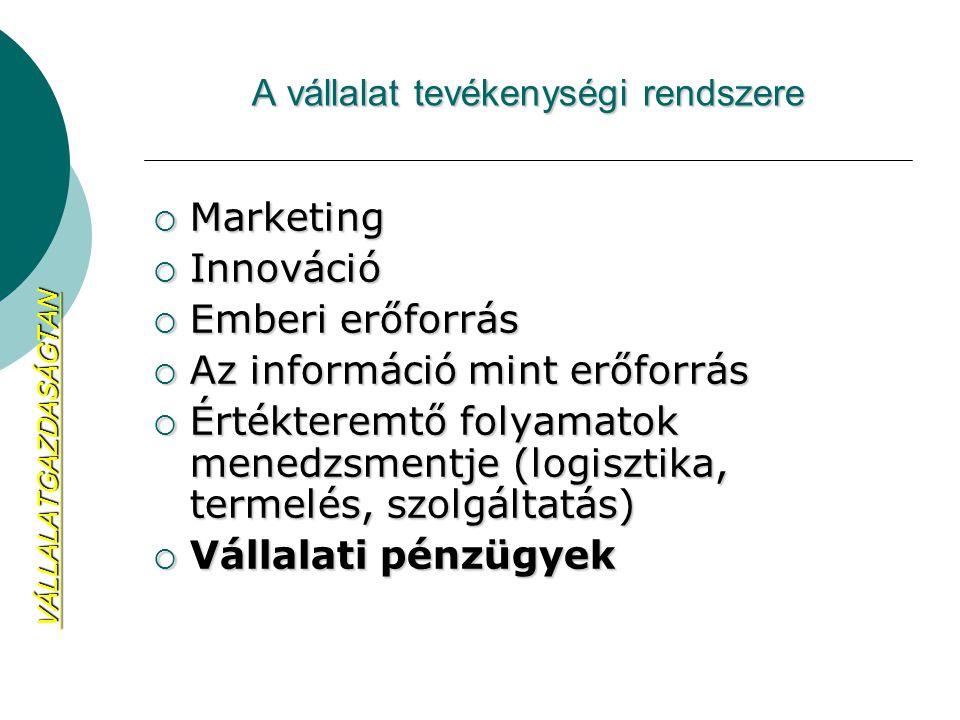 A vállalat tevékenységi rendszere  Marketing  Innováció  Emberi erőforrás  Az információ mint erőforrás  Értékteremtő folyamatok menedzsmentje (l