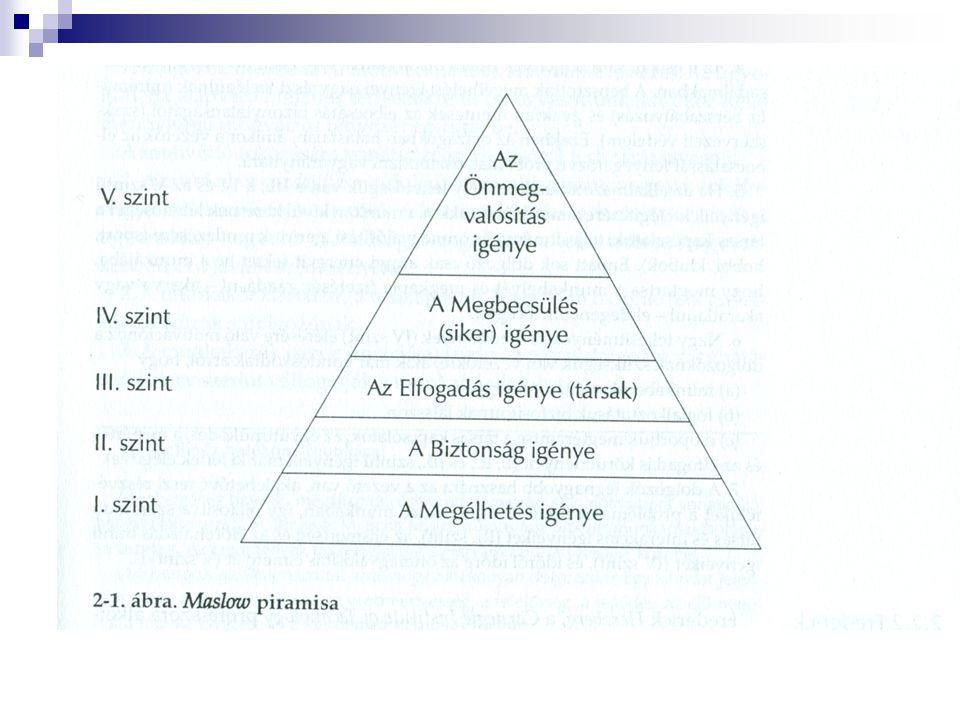 Maslow piramisa Egy szükséglet megjelenése általában a nálánál fontosabb másik szükséglet kielégítésén alapszik.