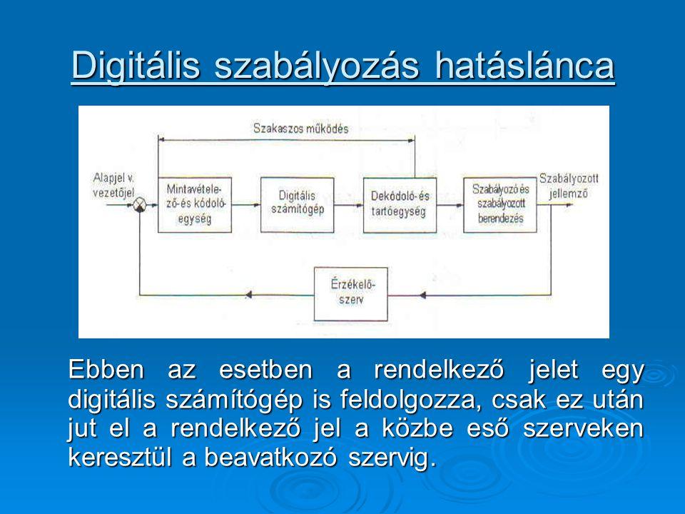 Digitális szabályozás hatáslánca Ebben az esetben a rendelkező jelet egy digitális számítógép is feldolgozza, csak ez után jut el a rendelkező jel a közbe eső szerveken keresztül a beavatkozó szervig.