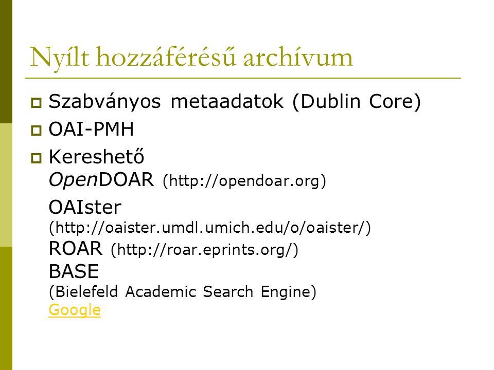 Nyílt hozzáférésű archívum  Szabványos metaadatok (Dublin Core)  OAI-PMH  Kereshető OpenDOAR (http://opendoar.org) OAIster (http://oaister.umdl.umich.edu/o/oaister/) ROAR (http://roar.eprints.org/) BASE (Bielefeld Academic Search Engine) Google Google