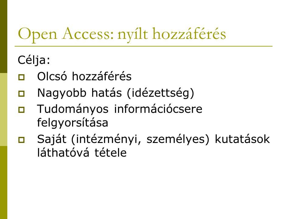 Open Access: nyílt hozzáférés Célja:  Olcsó hozzáférés  Nagyobb hatás (idézettség)  Tudományos információcsere felgyorsítása  Saját (intézményi, személyes) kutatások láthatóvá tétele