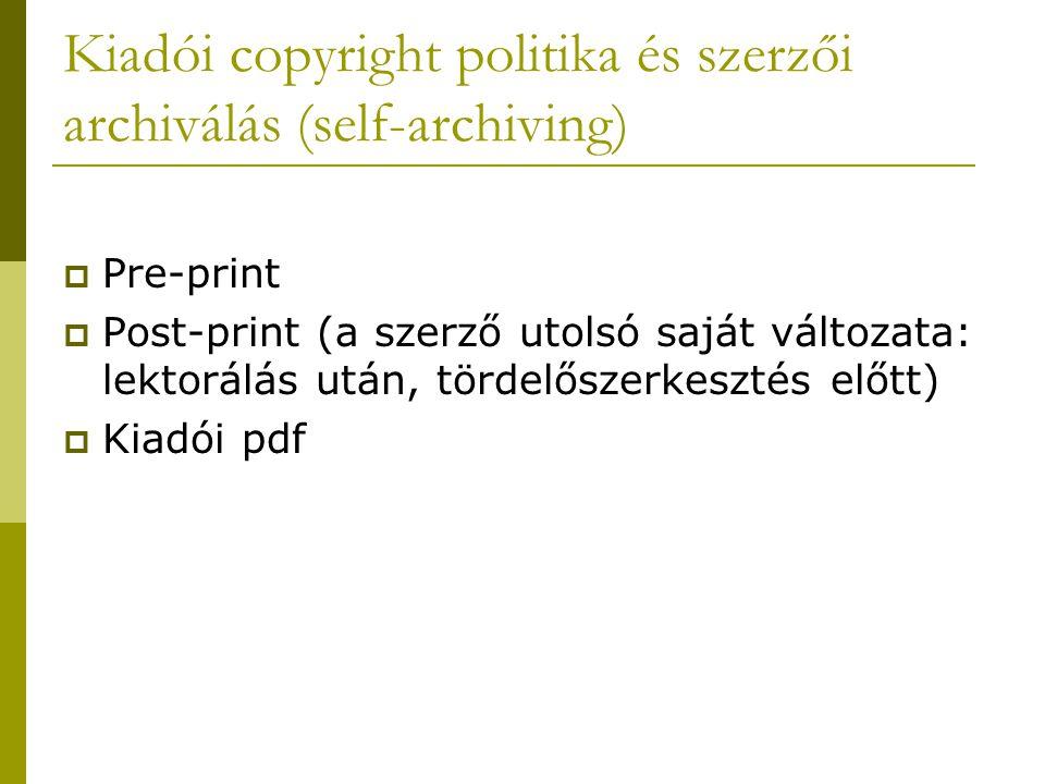 Kiadói copyright politika és szerzői archiválás (self-archiving)  Pre-print  Post-print (a szerző utolsó saját változata: lektorálás után, tördelőszerkesztés előtt)  Kiadói pdf