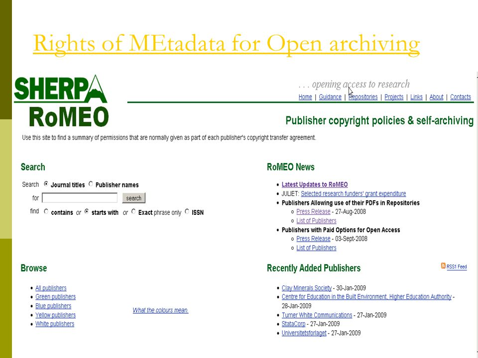 Rights of MEtadata for Open archiving