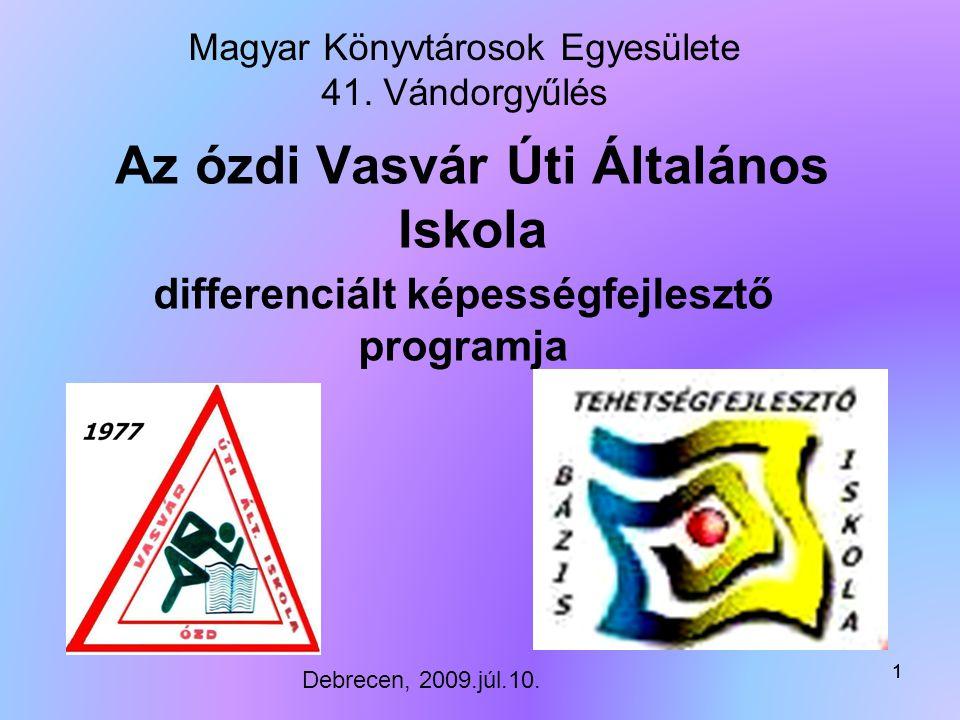 11 Az ózdi Vasvár Úti Általános Iskola differenciált képességfejlesztő programja Magyar Könyvtárosok Egyesülete 41.