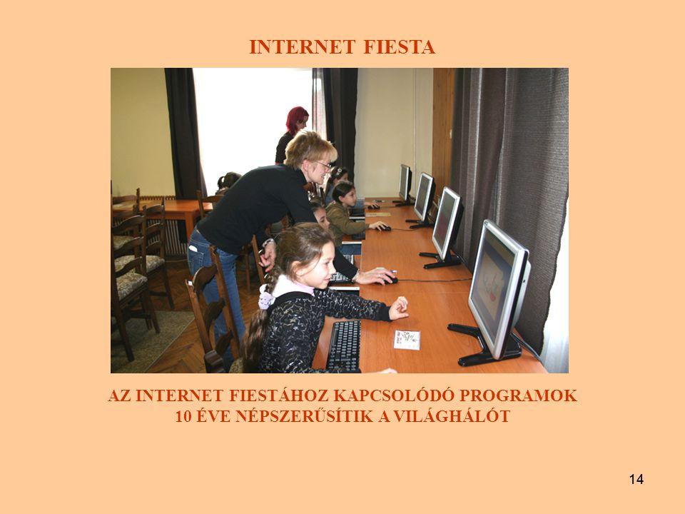 14 INTERNET FIESTA AZ INTERNET FIESTÁHOZ KAPCSOLÓDÓ PROGRAMOK 10 ÉVE NÉPSZERŰSÍTIK A VILÁGHÁLÓT 14