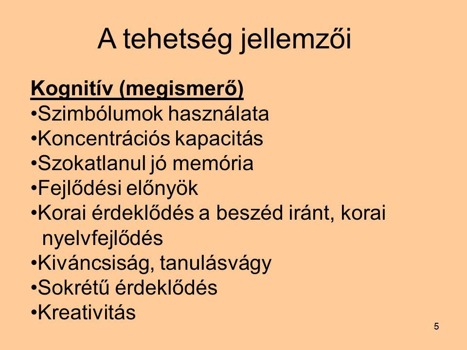 55 A tehetség jellemzői Kognitív (megismerő) Szimbólumok használata Koncentrációs kapacitás Szokatlanul jó memória Fejlődési előnyök Korai érdeklődés a beszéd iránt, korai nyelvfejlődés Kiváncsiság, tanulásvágy Sokrétű érdeklődés Kreativitás