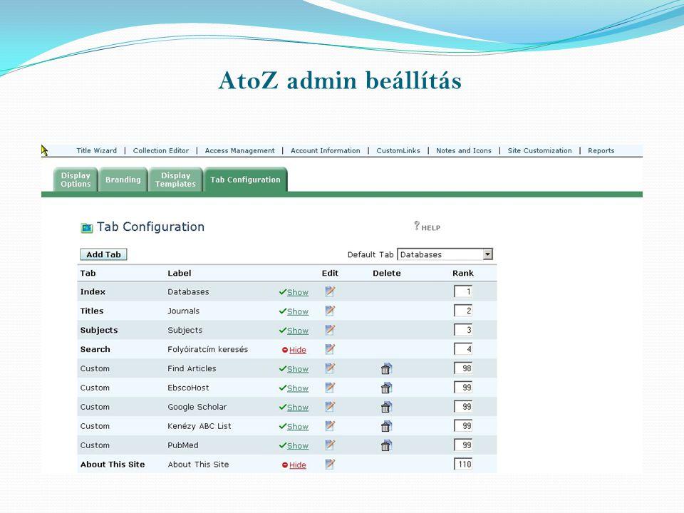 AtoZ admin beállítás
