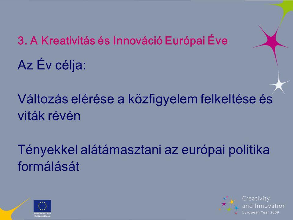 3. A Kreativitás és Innováció Európai Éve Az Év célja: Változás elérése a közfigyelem felkeltése és viták révén Tényekkel alátámasztani az európai pol