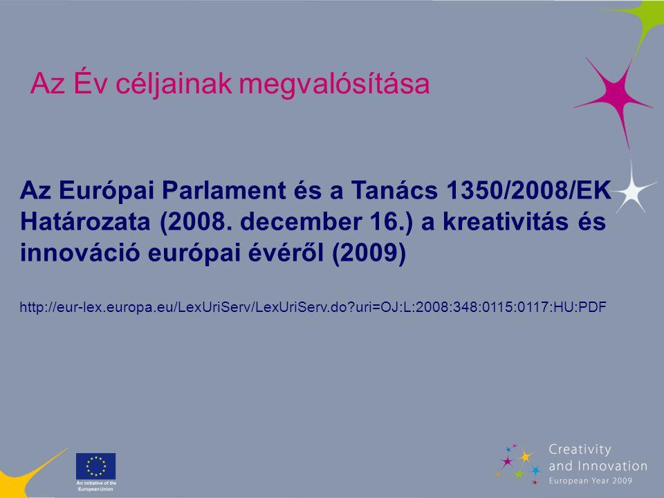 Események Projektek/ jó gyakorlatok http://create2009.europa.eu e-mail: create2009@ec.europa.eu Az Év céljainak megvalósítása