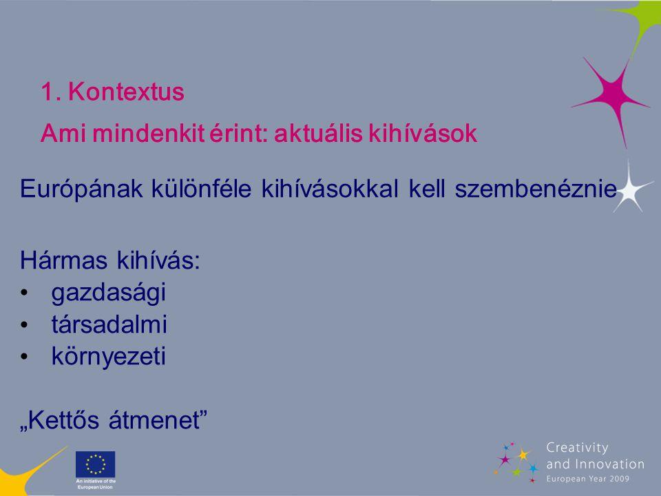 """1. Kontextus Európának különféle kihívásokkal kell szembenéznie Hármas kihívás: gazdasági társadalmi környezeti """"Kettős átmenet"""" Ami mindenkit érint:"""