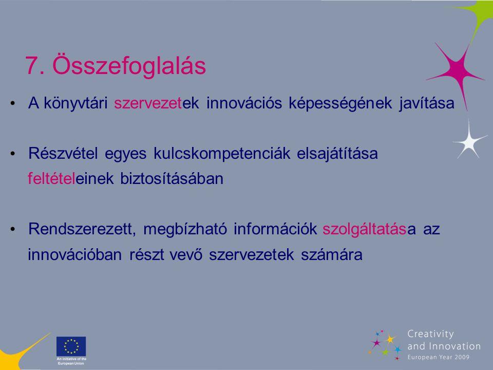 7. Összefoglalás A könyvtári szervezetek innovációs képességének javítása Részvétel egyes kulcskompetenciák elsajátítása feltételeinek biztosításában