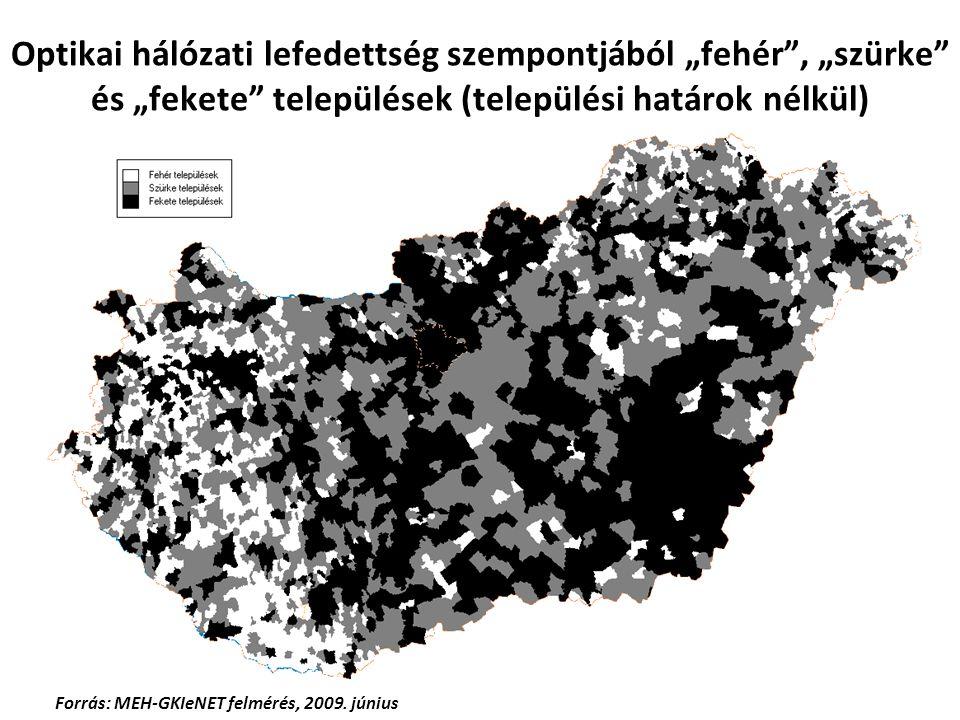 """Optikai hálózati lefedettség szempontjából """"fehér"""", """"szürke"""" és """"fekete"""" települések (települési határok nélkül) Forrás: MEH-GKIeNET felmérés, 2009. j"""