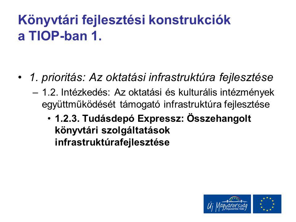 Könyvtári fejlesztési konstrukciók a TIOP-ban 1. 1. prioritás: Az oktatási infrastruktúra fejlesztése –1.2. Intézkedés: Az oktatási és kulturális inté